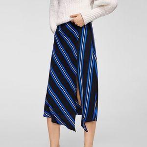 NWT Mango Striped Asymetrical Midi Skirt Black Med